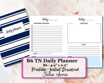 B6 Travelers Notebook, Daily Planner, B6 Travelers Notebook, B6 TN Printable Inserts: B6 Bree Daily Planner