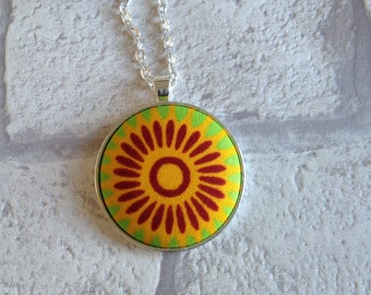 African print | Necklace | Fabric Button necklace | Button pendant | Button necklace |  UK shop | Metal button