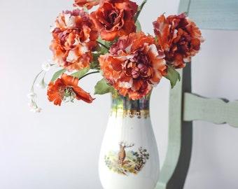 Beautiful Bouquet Fiery Red Real Japanese Silk