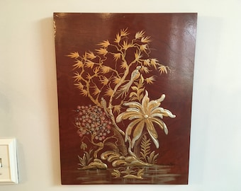 Vintage Mid Century Chinoiserie Chinese/Asian Flower Bird Blossom Textured Painting Artwork
