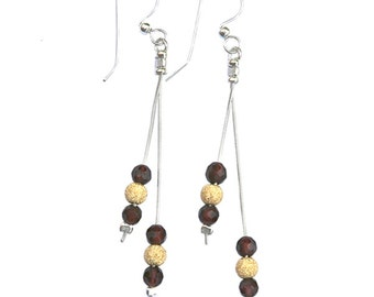 Sterling Silver Earrings with gold-filled stardust beads and garnets - er008