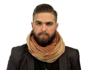 Beige velvet Scarf / mens scarf / Velvet Infinity Scarf / velvet scarf / loop scarves / fabric scarves / gift for him