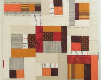 NEW Autumn Modern Patchwork Art Quilt, Wall Hanging, Table Topper