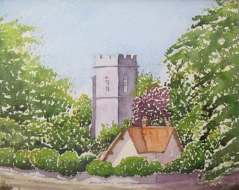 Village Church - Original Watercolour, Church, Cottage, Village scene, Norfolk, Countryside,  Art & Collectables.