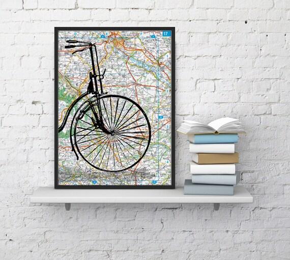 Old bike detail on Original France Roads Map Vintage Print, Art Print map Bike art  Print on Vintage map, Wall art map TVH001