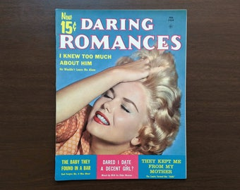 Daring Romances Vintage Magazine Feb 1959 - 50's Women's Issue w/ Short Stories, Novelettes & Ads - 1950's Romance - in Very Good+ cond