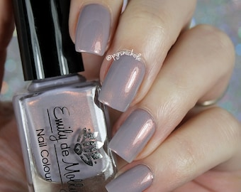 """Nail polish - """"Path of Travel"""" pale grey creme with copper shimmer"""