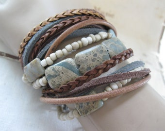 Boho Leather Wrap Bracelet and Necklace, Multi Strands of Leather and beads in shades of Natural  browns, cream and Jasper gemstone beads