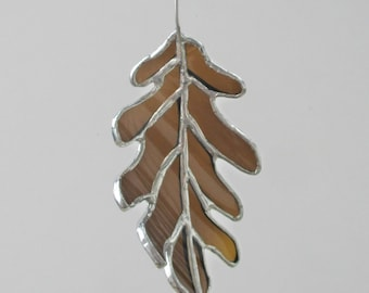 Brown Oak Leaf - Upcycled Stained Glass Suncatcher