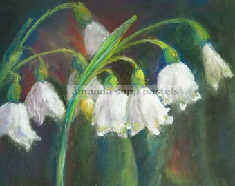 """snowdrops painting-flower painting-flower art-pastel painting-snowdrops pastel-garden painting-garden art-5"""" x 7"""" painting-archival print"""