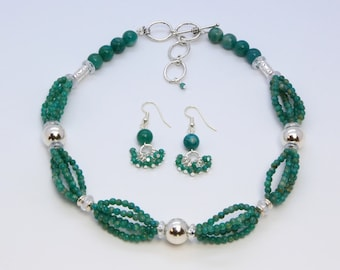 Artisan Created Natural Amazonite Gemstone and Sterling Silver Necklace and Earring Set