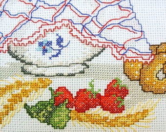 Very well done vintage 1980s unused handmade white aida cotton cross-stitch BAKING motive embroidery wall-hanging