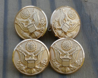 4 Large W. B. Co US Army Coat Buttons Vintage, 7/8 inch Waterbury Button Company