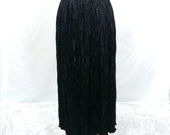Black Velvet Maxi Skirt S Small goth gothic crinkled long boho bohemian velvet maxi skirt 80s 1980s 90s grunge renaissance fair costume