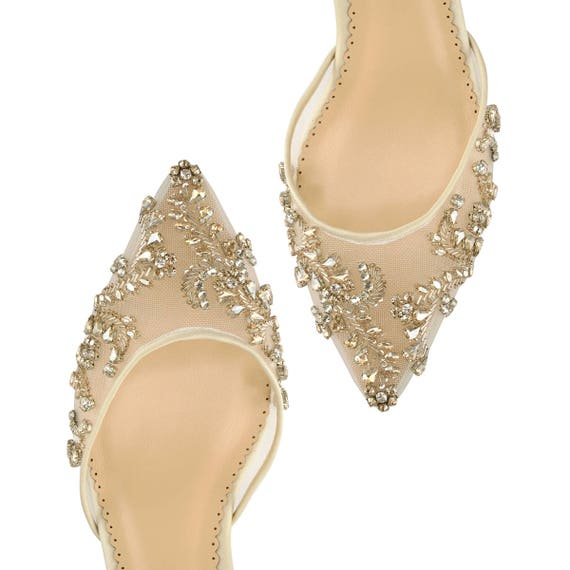 Comfortable Champagne and Gold Low Heel crystal embellished