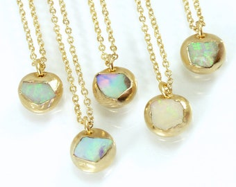 Raw Opal Necklace, Opal, Opal Necklace, Gold Necklace, Gemstone Necklace, October Birthstone, Raw Stone Necklace, Rough Opal Necklace, Gift.