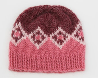 Cathedral Diamonds Pink Icelandic Lopi Hat Child Size