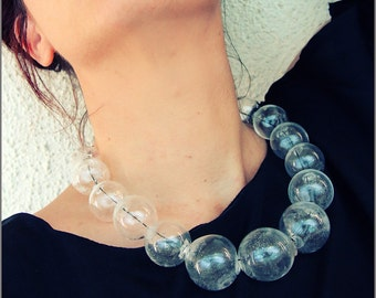 Blown glass rubber necklace -Glass bubbles - Spheres - Transparent beads - statement necklace - Black white - Rubber necklace - Murano glass