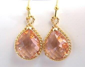 Peach Earrings, Champagne Earrings, Glass, Drop, Dangle, Gold, Wedding Jewelry, Bridesmaid Earrings, Bridal Earrings, Bridesmaid Gifts