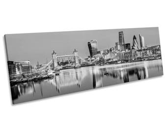 London City Skyline Black and White CANVAS WALL ART Panoramic Framed Print