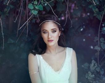 Floral cristaux chaine cristal feuille Couronne, accessoire de coiffure de mariée mariage tiare, Headband Bohème, bois rustique, romantique Hairband