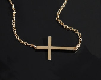 Kelly Ripa Cross Necklace - Set Off Center - 14kt gold Filled