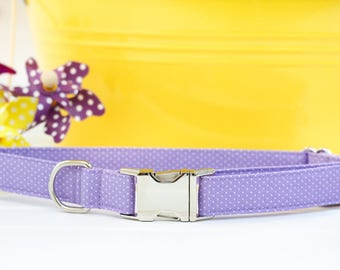 Purple Dog Collar,  Female Dog Collar, Polka Dot Dog Collar, Summer Dog Collar, Lavender, Girly, Cute Pet Collar with Metal Buckle, Puppy