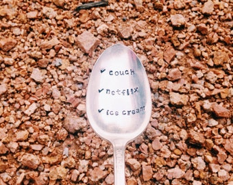 Comfort Spoon | checklist: couch netflix ice cream stamped spoon | silver plated spoon