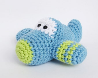 Crochet Toy Baby Rattle Amigurumi Airplane - organic cotton - sky blue and green