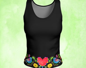 Tank top, Two Dove, Sacred Heart, Mexican embroidery, Workout top, Milagro heart, bird tank, colorful top, colorful tank, unique gift woman