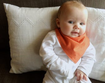 Bandana Bib | | Orange Baby Bib | Minimal Baby | Baby Girl Baby Boy | Drool Bib | Kerchief Bib | Simple Minimal Baby
