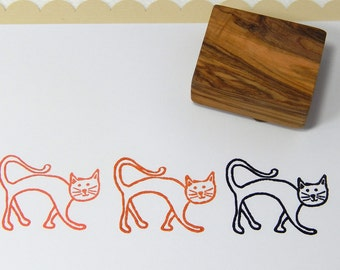 Charity Stamp  -  Cat Olive Wood Stamp