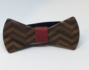 Walnut Chevron Bowtie - menswear - mens accessories - wedding attire - gifts for him - 5th Anniversary gift - wood bowtie - wooden bowtie