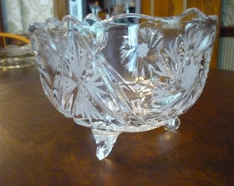 SALE Crystal Footed Bowl Sunburst motif EAPG Mint Condition - Mid Century Modern - table top decor gift home  5 by 4 inch housewarming