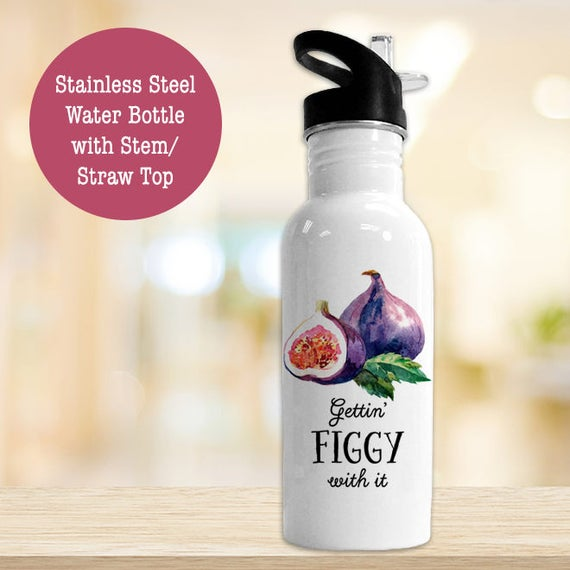Stainless Steel Water Bottle - Gettin Figgy With It - Funny Fig Bottle - Eco Friendly Water Bottle