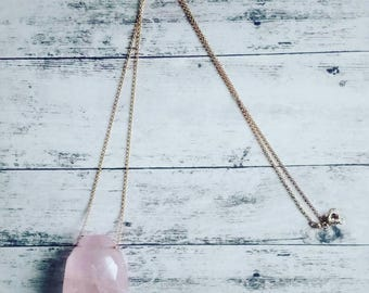 Pink necklace quartz nugget pendant/necklace/pendant/the Zelina jewelry