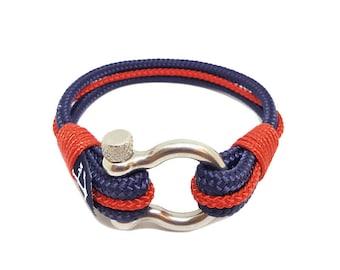 Bran Marion Blue and Red Nautical Bracelet, Handmade Rope Bracelet, Unisex Bracelet