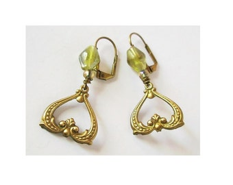 Art Nouveau Brass Earnings with pressed glass bead