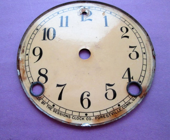 "1  4 3/4"" Old and Faded Paper on Steel Sessions Clock Co. Dial for your Clock Projects, Steampunk Art..."