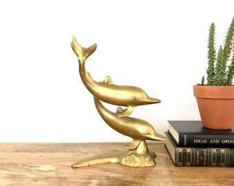 Vintage Dolphins   Brass Dolphin Statue   Brass Animal Figurine   Home Decor/Collectibles