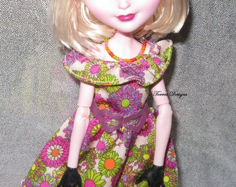 Custom Doll Fashion Floral Dress and Necklace for Monster High Everafter Ever After Dolls by TorresDesigns
