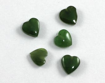 Nephrite Jade 5 Pieces 8mm Half Drilled Heart Beads