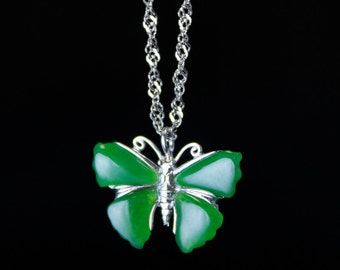 Silver Jade Butterfly Necklace - Nephrite Jade - 925 Sterling Silver