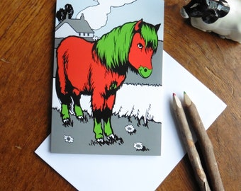 Red and Green Pony Greeting Card for the Artistic and Individual Person in your Life