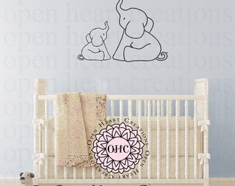Elephant Wall Decal with Heart - Vinyl Wall Art Animal Graphics - Baby Nursery Kids Room Wall Art Decals NW0054