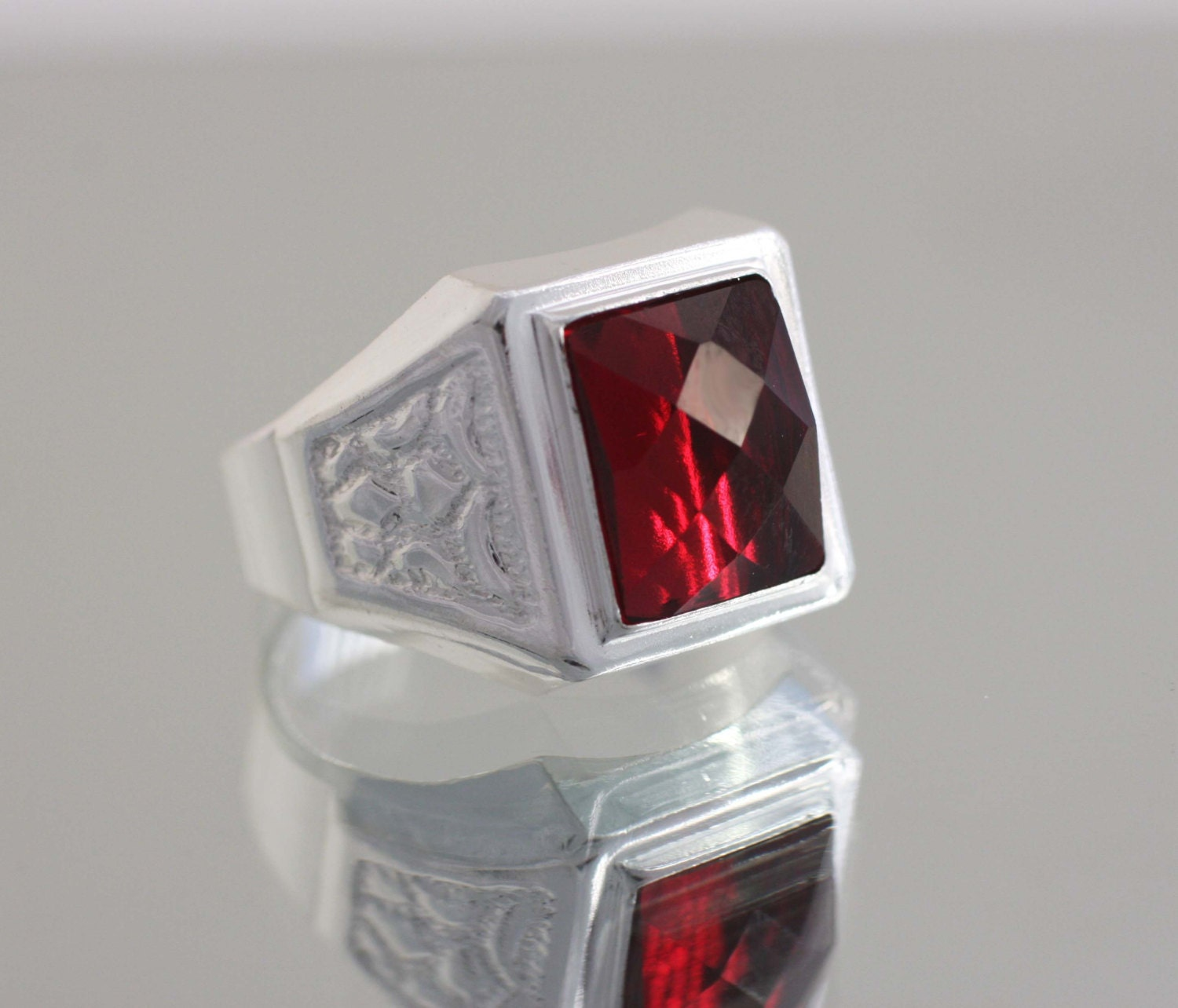 Silver Red Granite : Sterling silver red stone mens ring square cz men