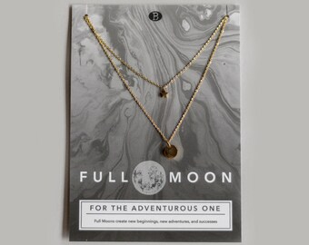 Full Moon Phase Gold Necklace