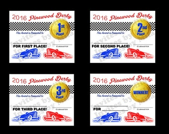 pinewood derby certificate set 110 fill in diy printable award digital you print instant download - Pinewood Derby Certificate Templates