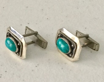 Silver EILAT STONE Cuff Links Judaica Vintage Estate