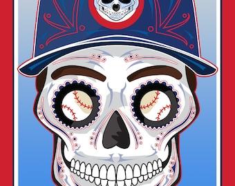 Chicago Cubs Sugar Skull Print 11x14